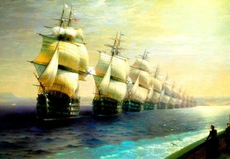 SHIP ALLEY - ivan aivazovsky, sails, painting, ships, sea