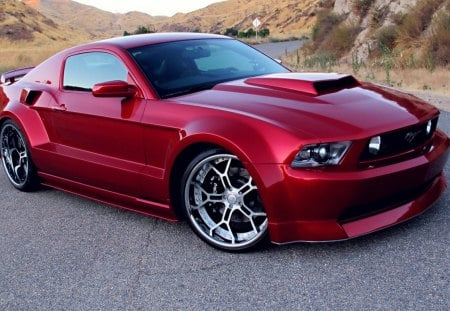 Ford, Mustang GT - mustang gt, red, ford, tuning, wheels