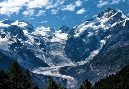 Mountain Glacier Flow - mountain, nature, ice, glacier