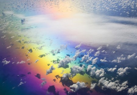 View of rainbow - beautiful, rainbow, skies, heaven, clouds