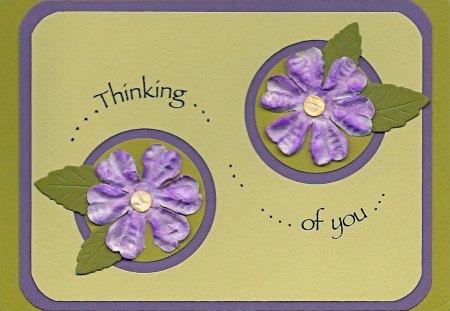 ~Green mess@ge~ - flowers, purple, friendship, texture, card, message, green