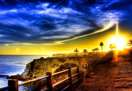 LIGHT from HEAVEN - fence, pathway, ocean, hdr, trees, sky, light
