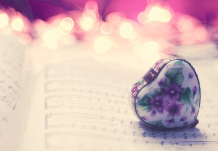 Heart of the music - flowers, paper, fire, music, notes, simply, heart