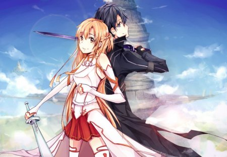 Yuuki Asuna & Kirigaya Kazuto - kazuto, cg, incredible, rapier, nice, mmo, breastplate, mmorpg, anime girl, sword, art, jacket, digital, asuna, white, artistic, red, beautiful, white clouds, elucidator, kirito, blade, blue, kirigaya kazuto, yuuki asuna, rpg, kirigaya, sao, boy, leggings, stockings, uniform, blue sky, pretty, stunning, game, flash, thigh highs, clouds, anime, beauty, weapon, yuuki, black, skirt, sky, cute, thighhhighs, cool, awesome, brown, anime boy, black hair, outfit, amazing, vrmmorpg, fantastic, brown hair, sword art online, the black swordsman, brown eyes, coat, armor, guild, girl, katana, black eyes
