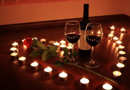 Our romantic evening my love - candles, light, romantic evening, feeling, heart, warmth, wine, bottle, emotion, rose, romance, glasses, i love you, red rose, love