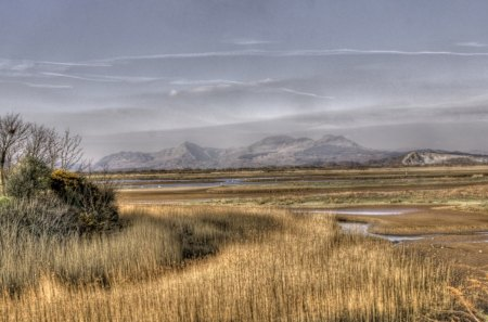 great wetlands landscape hdr - grass, mountains, wetland, hdr, clouds