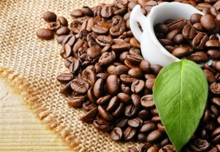 Coffee - drink, coffee, cup, coffee beans, petal, aromatic, sweet, leave