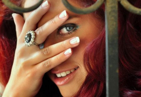 beautiful red haired girl playing peek-a-boo - beauty, red hair, model, peeking