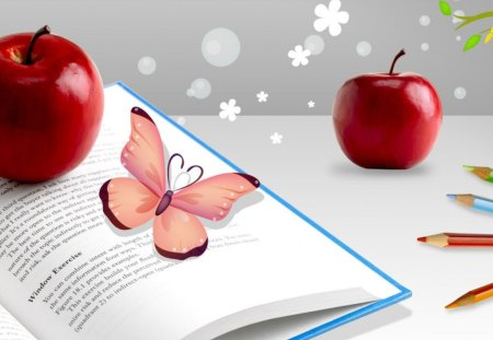 Day of knowledge - butterfly, apple, snow flakes, abstract, book, red, pencils