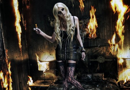 FIRE GIRL - female, blond, gothic girl, woman, dalissa, girl, gothic, underwear, smoke