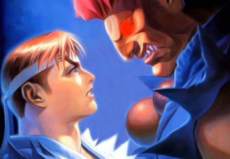 Ryu & Akuma - glowing eyes, games, street fighter, gouki, video games, ryu, fighters, anime, akuma, headband, red eyes