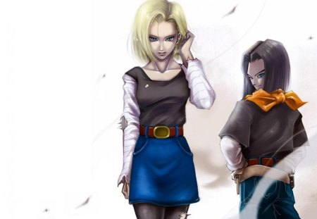 Android 18 And Android 17 Dragonball Anime Background