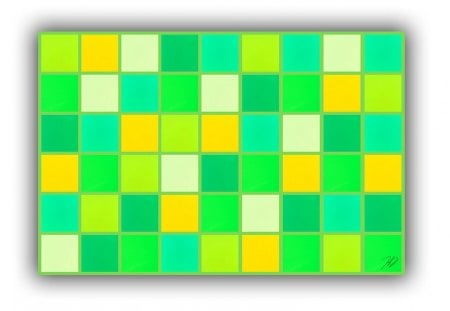 Blanket with shades of green  - blanket, shades, texture, white, squares, green, yellow