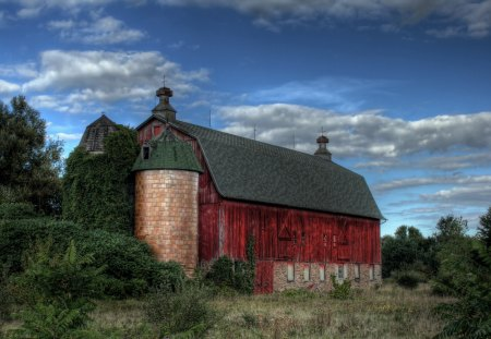 Old Red Barn - barn, old, red, country