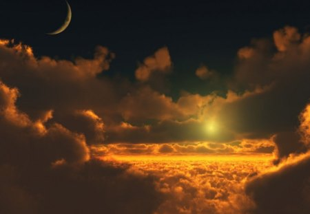 COPPER SUNSET - moons, night sky, flight, copper, suns, clouds, sky