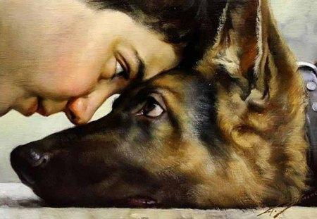 boy and his dog - boy, german shepherd, art, dog