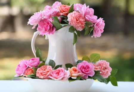 For anyone going through illness - pink, flowers, white pitcher, coral, roses