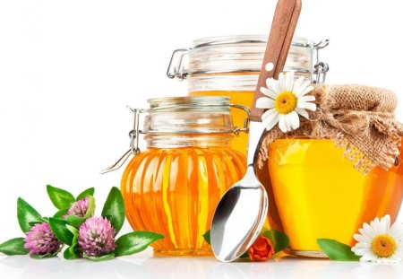 Honey - flowers, sweetness, jug, sweet, honey, daisy, yummy, tasty, spoon