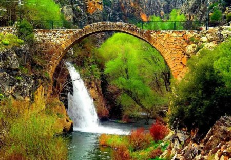 Countryside place - stream, fall, rocks, pretty, grass, falling, beautiful, bushes, countryside, mountain, nice, stones, bridge, village, waterfall, flowers, river, reflection, calmness, lovely, greenery, place, creek, trees, water, peaceful, summer, nature