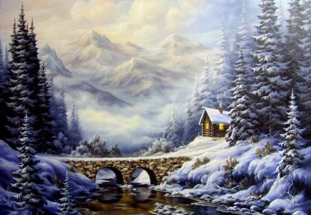 In winter - loving, bridge, snow, winter, house, forest, river, mountain, landscape, colors, splendor, beautiful, trees, nature
