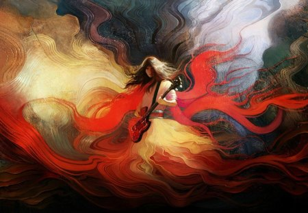 Magic music - beautiful, flames, colors, music, splendor, sound collages, red