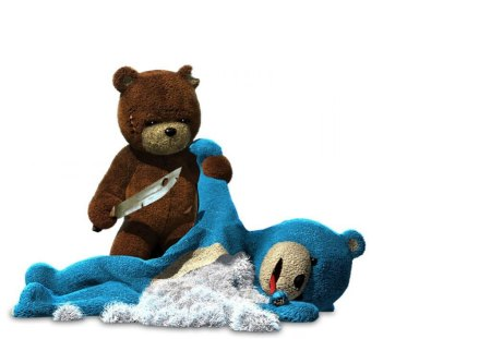 Bear Fight - stabbing, bears, white, teddy, toys, knives, background