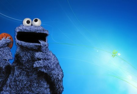 Blue monster - fun, sesamestreet, wallpaper, blue, cookie monster