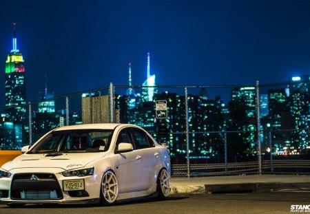 Evo City Skyline Mitsubishi Cars Background Wallpapers On
