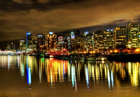 Midnight in Vancouver - city, water, vancouver, midnight, reflection, light