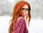 Sexy redhead with glasses