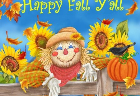 HAPPY FALL Y ALL - fall, colorful, scarecrow, sunflowers, fence, happy