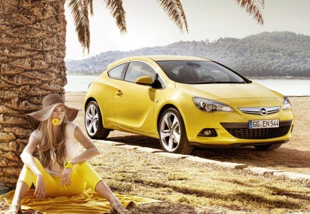 Attention to details♥ - opel, coupe, astra, summer, tree, flower, yellow, positive, girl, hat, gtc