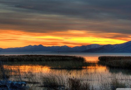 fall evening at utah lake hdr - mountain, fall, hdr, sunset, lake