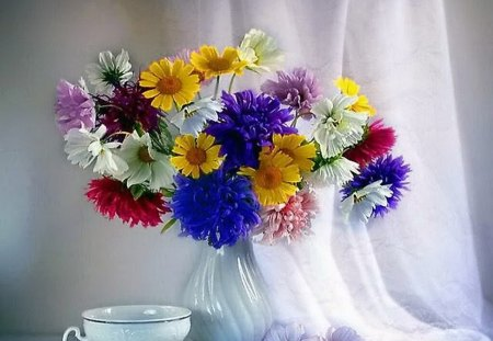 Colors for Katica - flowers, purple, white, cup, colors, vase, red, yellow
