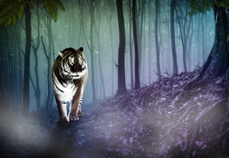 Cgi Tiger - animal, cgi, forest, 3d, tiger