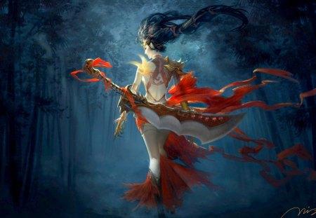 WARRIOR GIRL - bird tattoo, dark, sword, bamboo, red, warrior, belt, wood, phoenix, back, girl, night, weapon, art