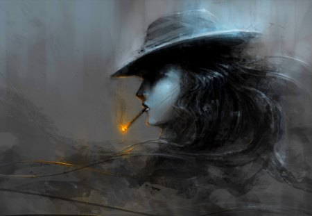 SMOKING GIRL - fire, girl, hat, profile, art, cigarette, black and white
