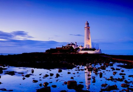 LIGHTHOUSE - ocean, stones, lights, lighthouse, beach, decoration