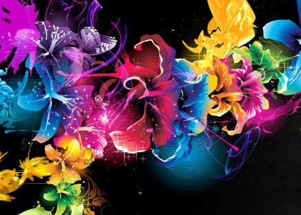 Neon Color Flowers Other Abstract Background Wallpapers