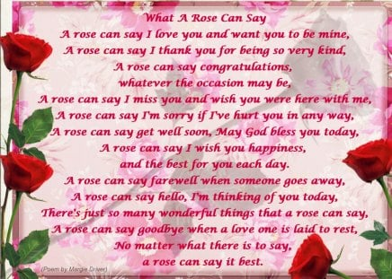 ♥    ~~~ღ  What a ROSE can say  ღ~~~    ♥ - rose, roses, abstract, poem, red rose, collages, love