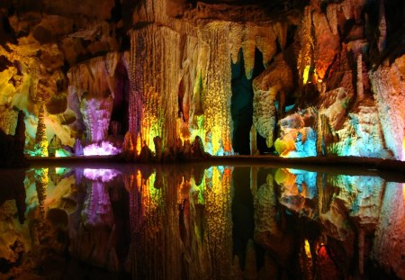 Colorful reflections - colorful, mirrored, colors, reflections, water, rocks, cave