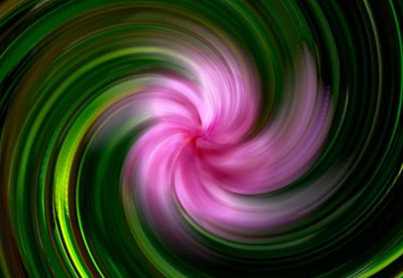 CATHERINE WHEEL - pink, fireworks, flowers, colours, whirlspools, twirls, leaves, green, spinning