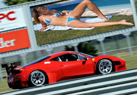 Road Distraction - bikini, road, sign, ferrari