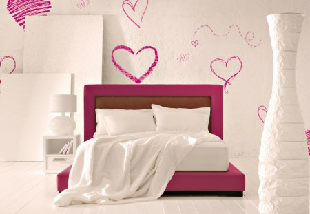 ♥Bedroom for girls♥ - romance, interior, bedroom, hearts, bed, love, bright, girls, white, pink, light