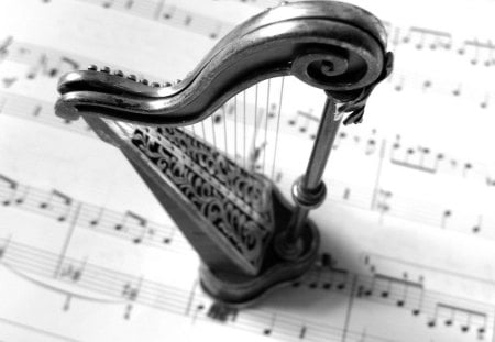 SOMETHING FOR THE SOUL ... - harp, photography, music, bw, wp