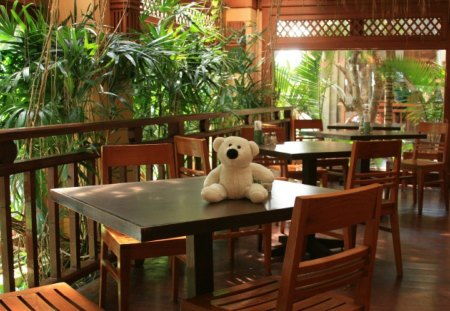 Sweet Welcome - veranda, hotel, holiday, teddy, welcome, travel, bear, interior design, thailand, sweet, wallpaper