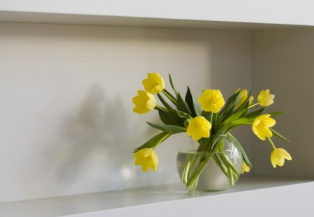 ~ Graceful tulips ~ - cut, special, fresh, shelf, yellow, a vase, grace, water, green, precious, flowers, tulips