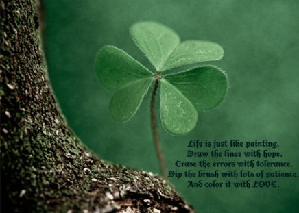Life is just like painting - painting, green, life, words