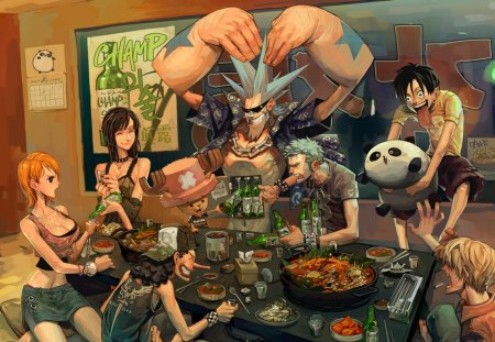 Party - house, robin, food, nami, eat, sexy, one piece, panda, zoro, sanji, anime, party, luffy, usopp, beer
