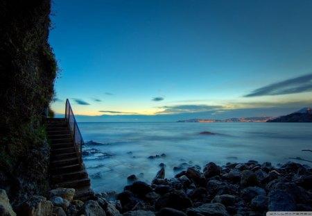 Stairs To Rocky Beach   Beach, Rocks, City, Stairs, Wall